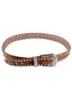 Rhinestone Hollow Out Embellished Waist Belt - Brown