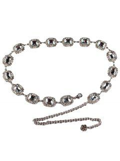 Rhinestone Embellished Faux Gem Metal Waist Belt - White