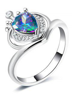Valentine's Day Rhinestone Heart Finger Ring - Silver 8