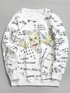 Function Graphic Crew Neck Sweatshirt Men Clothes - White M