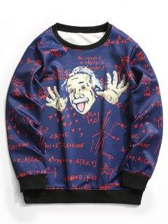 Function Graphic Crew Neck Sweatshirt Men Clothes - Deep Blue L