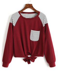 Striped Bowknot Hem Pocket Tee - Wine Red L
