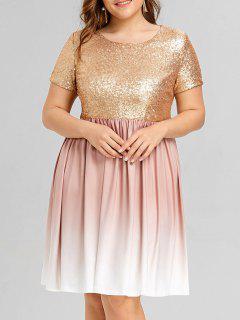 Vestido Ombre Con Lentejuelas Talla Grande - Dorado 5xl