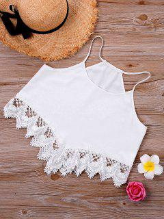 Lace Trim Cami Top - White Xl