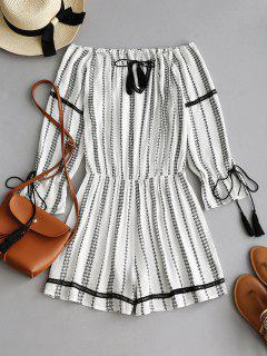 Tassels Crochet Trim Off Shoulder Romper - White L