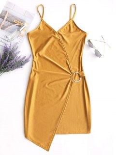 Bodycon O-ring Slip Dress - Yellow L
