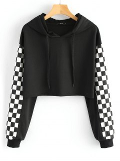 Cropped Contrast Square Hoodie - Black L