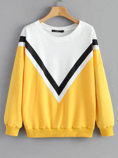 Loose Color Block Sweatshirt - Yellow M
