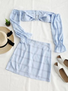 Cropped Plaid Off Shoulder Top And Skirt Set - Light Blue M