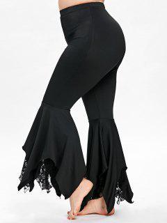 Pantalon évasé à Mouchoir Grande Taille - Noir 5xl