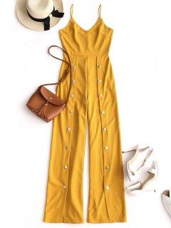 Snap-button Wide Leg Jumpsuit - Yellow M