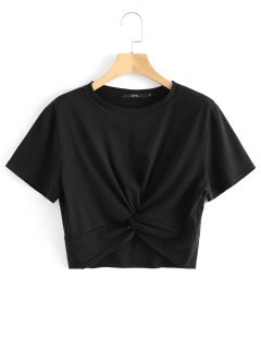Cotton Twist Cropped Top - Black S