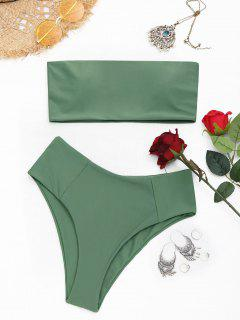 High Cut Bandeau Bathing Suit - Army Green L