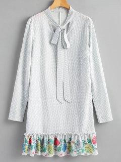 Ruffle Striped Long Sleeve Dress - Gray L