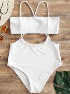 Bandeau Top And High Waisted Slip Bikini Bottoms - White M