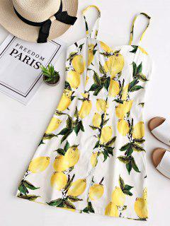 Lemon Print Open Back Cami Dress - White S