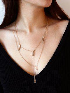 Fringed Chain Pendant Layered Necklace - Golden