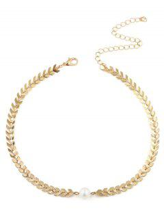 Faux Pearl V Shaped Collarbone Necklace - Golden