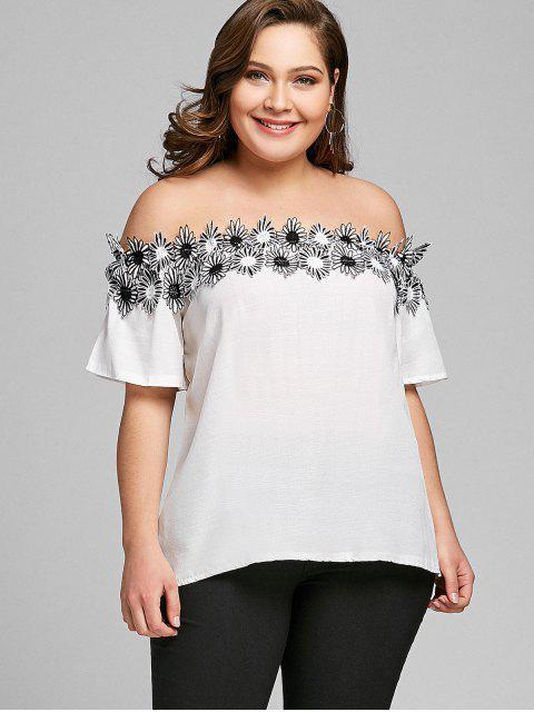 Blusa sin mangas con apliques en los hombros - Blanco 4XL Mobile