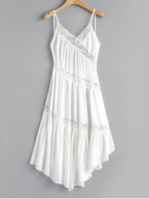 Vestido camisero asimétrico sin espalda con panel de encaje - Blanco S Mobile