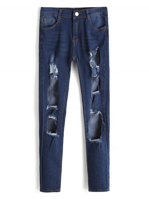 fashion High Waist Cut Out Frayed Jeans - DEEP BLUE XL Mobile