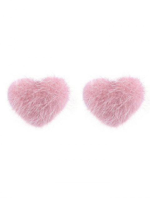 outfits Fuzzy Valentine's Day Heart Stud Earrings - LIGHT PINK  Mobile