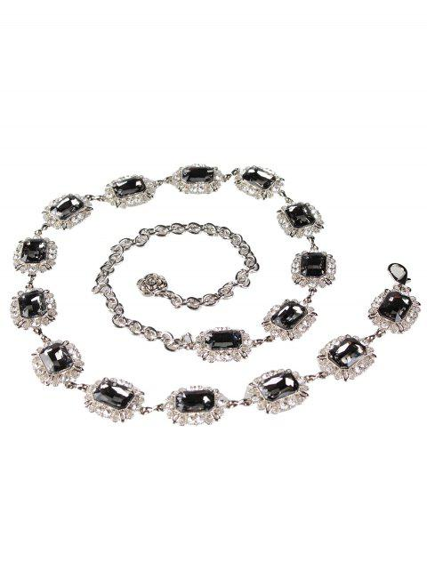 Cinturón de imitación de imitación de piedras preciosas de imitación de metal - Negro  Mobile