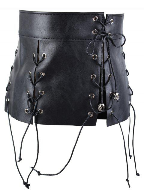 best Faux Leather Fringed Waist Corset Belt - BLACK  Mobile