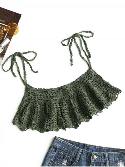 lady Ties Crochet Cover-up - ARMY GREEN ONE SIZE Mobile