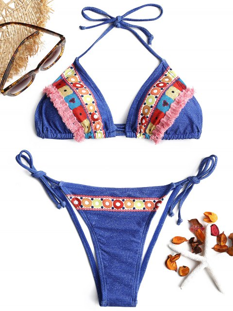 Tassel Printed String Bikini Set - Denim Blau L Mobile