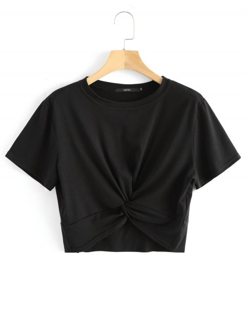 ladies Cotton Twist Cropped Top - BLACK XL Mobile