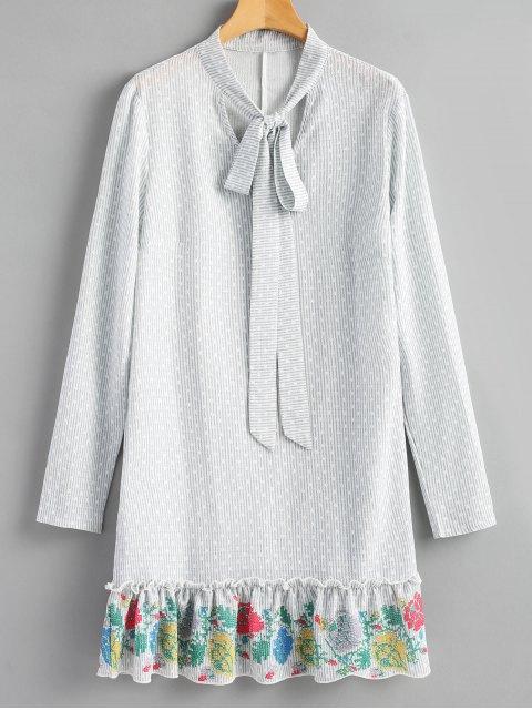 fashion Ruffle Striped Long Sleeve Dress - GRAY S Mobile