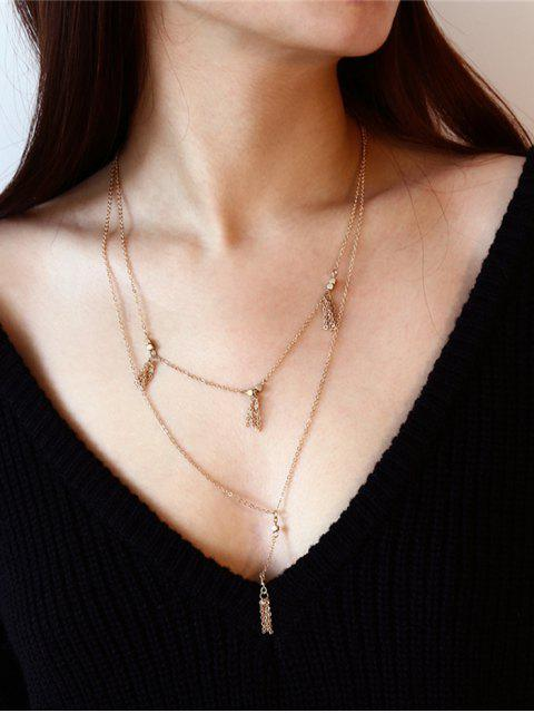 womens Fringed Chain Pendant Layered Necklace - GOLDEN  Mobile
