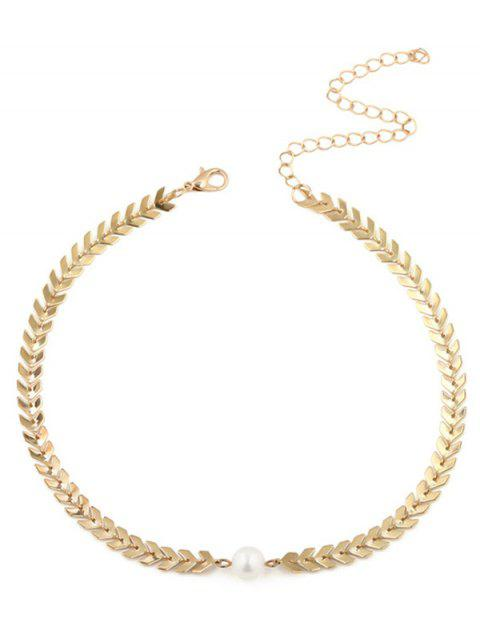 women's Faux Pearl V Shaped Collarbone Necklace - GOLDEN  Mobile