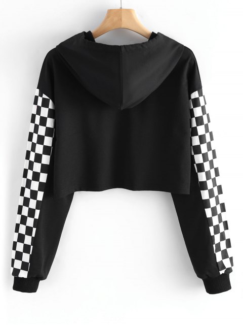 best Cropped Contrast Square Hoodie - BLACK S Mobile