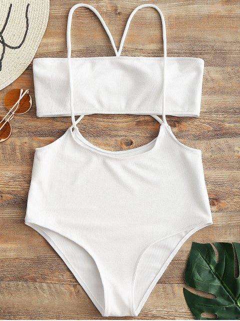 Bandeau Top Und Hohe Taillierter Slip Bikini Badehose - Weiß M Mobile