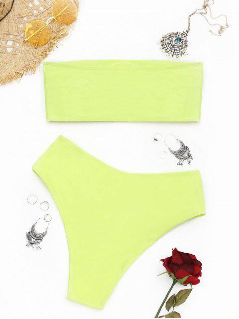 shops High Cut Bandeau Bathing Suit - FLUORESCENT YELLOW S Mobile