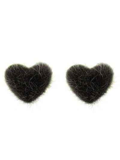Valentine s Day Fuzzy Heart Stud Earrings