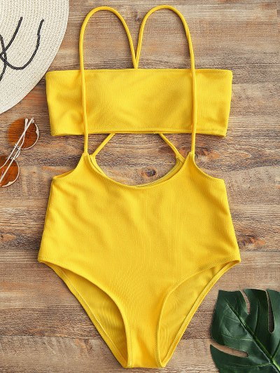 Bandeau Top And High Waisted Slip Bikini Bottoms - Yellow M