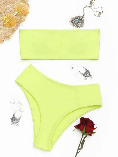 High Cut Bandeau Bathing Suit - Fluorescent Yellow M