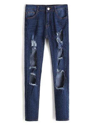 High Waist Cut Out Frayed Jeans