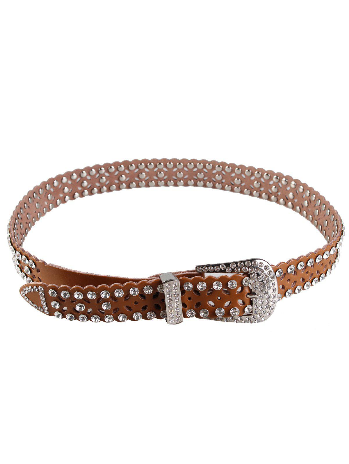 Rhinestone Hollow Out Embellished Waist Belt 250492701