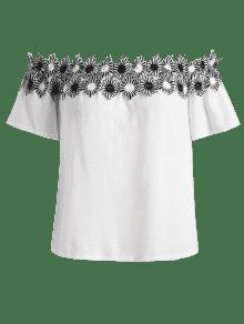 Blusa En 4xl Hombros Apliques Los Blanco Mangas Con Sin IPqxIrp
