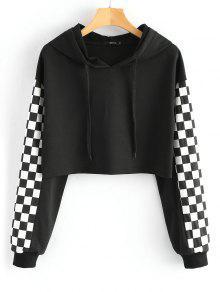 هودي قصير مزين بمربعات متعاكسة - أسود S