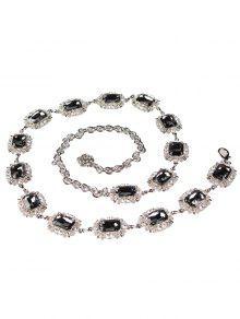 حجر الراين مزين فو جوهرة حزام الخصر المعدني - أسود
