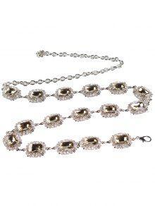 حجر الراين مزين فو جوهرة حزام الخصر المعدني - ذهبي