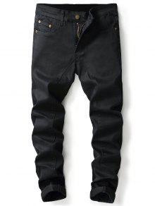 تصميم لوحة سحاب مستقيم الساق الجينز - أسود 36