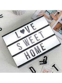 Zaful Dia Dos Namorados Gift Creative LED DIY Letter Light Box - Preto 300*220*60mm