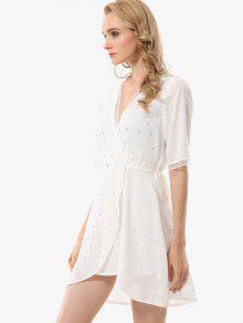 Vestido Estampado De Hojas Sobrepelliz Con S De Blanco USwrpU