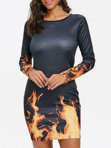3D النار لهب طباعة اللباس - أسود Xl